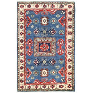Herat Oriental Afghan Hand-knotted Kazak Blue/ Ivory Wool Rug (3' x 4'8)
