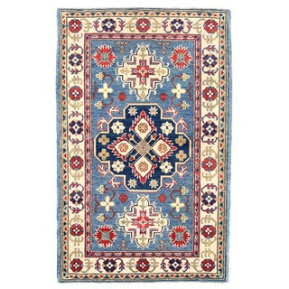 Herat Oriental Afghan Hand-knotted Kazak Light Blue/ Ivory Wool Rug (3' x 4'10)