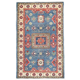 Herat Oriental Afghan Hand-knotted Kazak Light Blue/ Ivory Wool Rug (3' x 4'9)