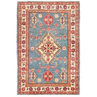Herat Oriental Afghan Hand-knotted Kazak Light Blue/ Ivory Wool Rug (3'2 x 4'7)
