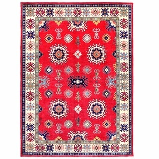 Herat Oriental Afghan Hand-knotted Kazak Red/ Ivory Wool Rug (9'2 x 12'6)