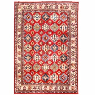 Herat Oriental Afghan Hand-knotted Kazak Red/ Ivory Wool Rug (10'5 x 15'4)