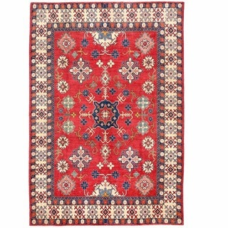 Herat Oriental Afghan Hand-knotted Kazak Red/ Ivory Wool Rug (8'6 x 12'3)
