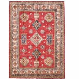 Herat Oriental Afghan Hand-knotted Kazak Red/ Ivory Wool Rug (9' x 12'7)