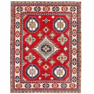 Herat Oriental Afghan Hand-knotted Kazak Red/ Ivory Wool Rug (9'11 x 13')