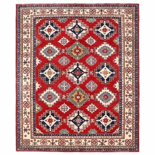 Herat Oriental Afghan Hand-knotted Kazak Red/ Ivory Wool Rug (8'7 x 10'5)