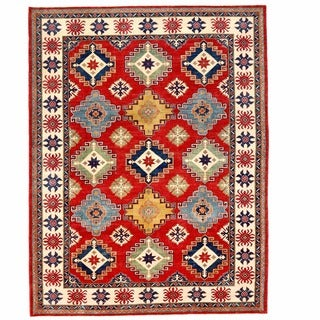 Herat Oriental Afghan Hand-knotted Kazak Red/ Ivory Wool Rug (9' x 11'8)