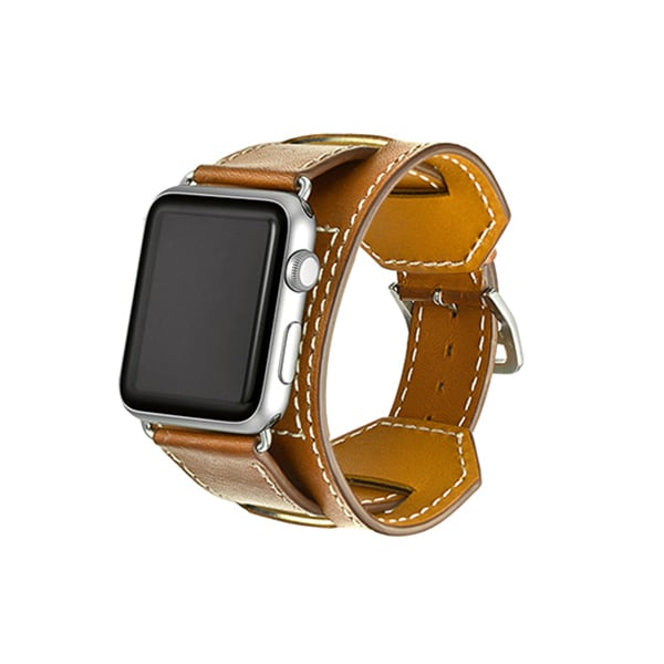 iPM Earth-tone Genuine Leather Cuff For Apple Watch (38mm)