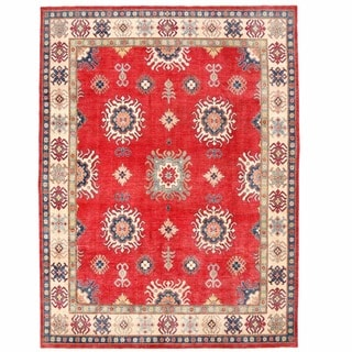 Herat Oriental Afghan Hand-knotted Kazak Red/ Ivory Wool Rug (9'8 x 12'6)