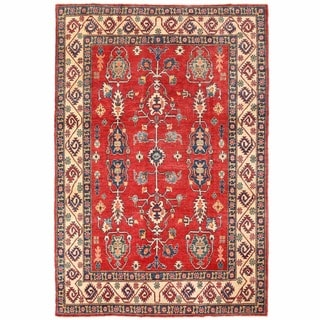 Herat Oriental Afghan Hand-knotted Kazak Red/ Ivory Wool Rug (5'11 x 8'6)