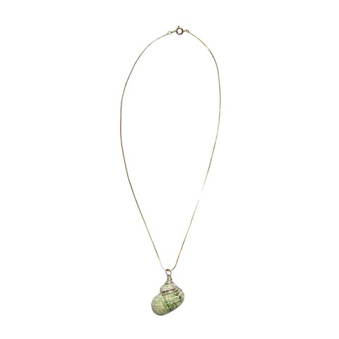 Pearl Inside White/Green Sea Shell Necklace
