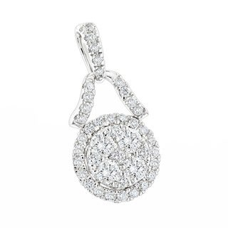 Luxurman Women's 14k Gold 1ct Round-cut Diamond Cluster Pendant