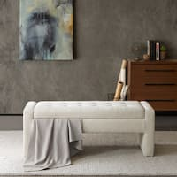 Madison Park Payden Cream Storage Bench