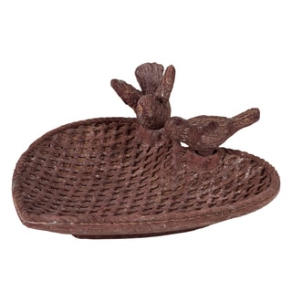 Traditional Style Cement Bird Feeder With Two Bird Figurines Brown