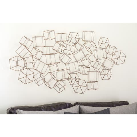 Modern 27 x 48 Inch Gold Iron Cubes Wall Decor by Studio 350