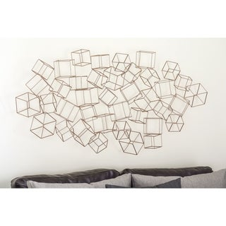 Link to Modern 27 x 48 Inch Gold Iron Cubes Wall Decor by Studio 350 Similar Items in Wall Sculptures
