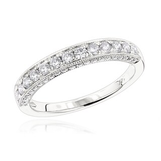 Luxurman 14k White Gold 3/4ct TDW Diamond Wedding Band (G-H, VS-SI)