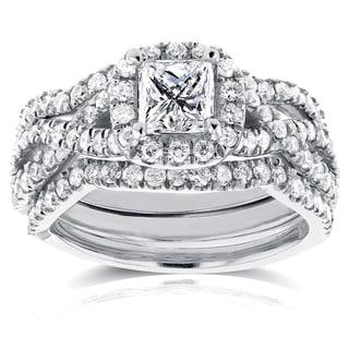Annello 14k White Gold 1 2/5ct TDW Princess Diamond Halo Crossover Bridal Rings Set (H-I, I1-I2)