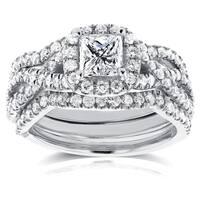 Annello by Kobelli 14k White Gold 1 2/5ct TDW Princess Diamond Halo Crossover Bridal Rings Set