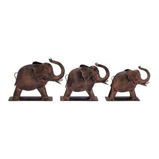 Decorative Metal Elephant (Set Of 3) Pcs