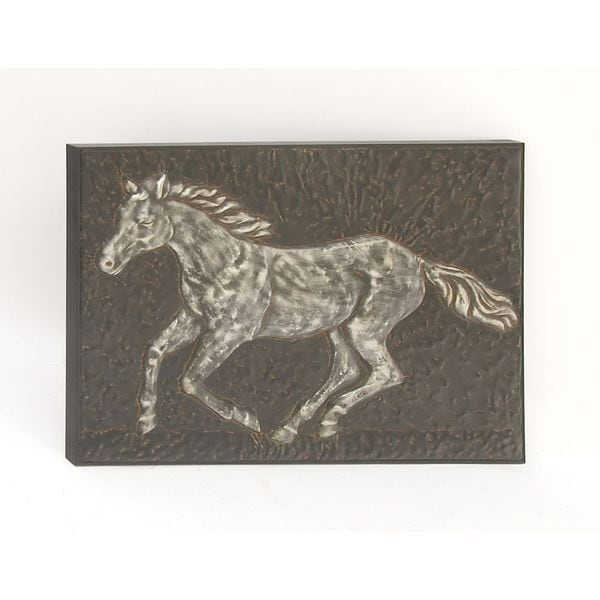 Antique Cream Wood Metal Wall Decor: Antique Metal Horse Wall Decor