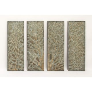 Set of 4 Natural 36 Inch Iron Tree Tetraptych Wall Art by Studio 350
