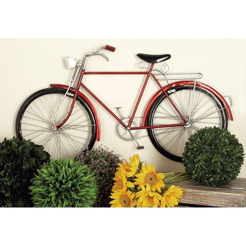 Farmhouse 19 x 36 Inch Red Metal Bicycle Wall Decor by Studio 350