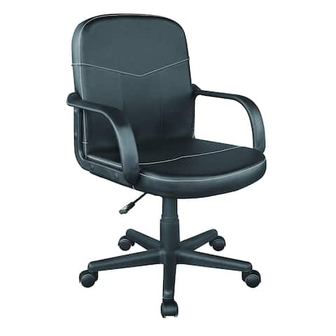 OneSpace 60-2381 Black Bonded Leather Mid-Back Office Chair