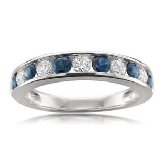 Montebello Jewelry 14k White 1ct TGW Gold Blue Sapphire and White Diamond Wedding Band (H-I, I1-I2)