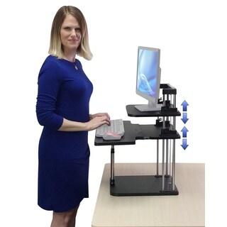 UpTrak Grande Black Two-Level Height-Adjustable Lightweight Sit/Stand Desk Riser