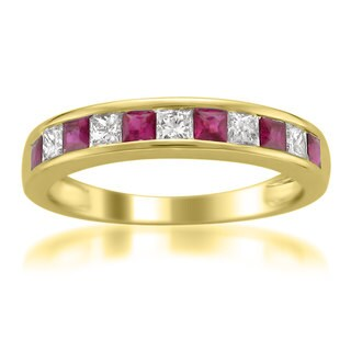 Montebello 14KT Yellow Gold 1ct TGW Ruby and Diamond Wedding Band