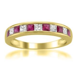 Montebello Jewelry 14k White Gold 1ct TGW Ruby and White Diamond Wedding Band (H-I, I1-I2)