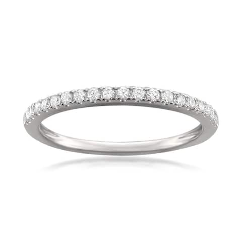 Montebello Platinum 1/4ct TDW Round-cut Diamond Pave-set Wedding Band