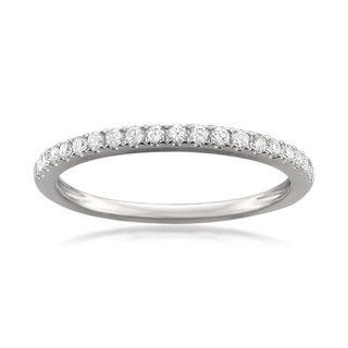 Montebello Jewelry Platinum 1/4ct TDW Round-cut White Diamond Pave-set Wedding Band