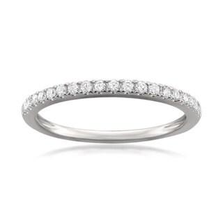 Montebello Jewelry Platinum 1/4ct TDW Round-cut White Diamond Pave-set Wedding Band