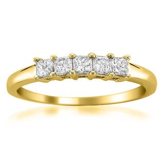 Montebello Jewelry 14k Yellow Gold 1/2ct TDW Princess-cut 5-Stone Wedding Band (H-I, I1)