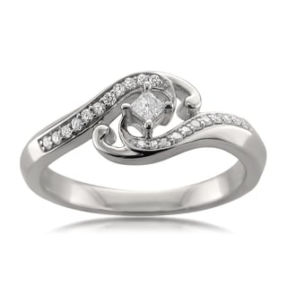 Montebello Jewelry 14k White Gold 1/4ct TDW Fancy Diamond RIng