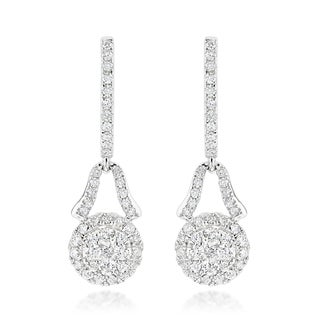 Luxurman 14k White or Yellow Gold 1 1/10ct TDW Diamond Cluster Drop Earrings