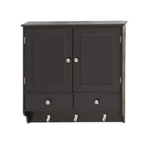 Traditional 24 x 24 Inch Wooden Wall Cabinet with Hooks by Studio 350