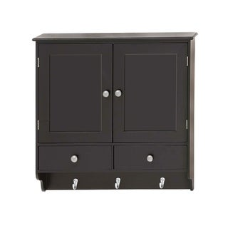 "Attractive Wood Wall Cabinet with Hooks 24""W, 24""H"