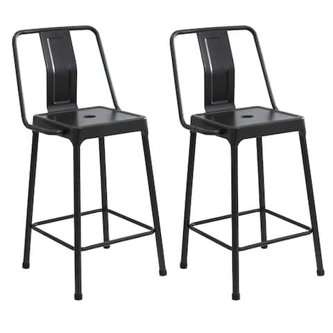 Lumisource Energy Industrial Metal Counter Height Bar Stools (Set of 2)