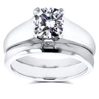 Annello by Kobelli 14k White Gold 1ct Cushion Diamond Solitaire Bridal Rings Set