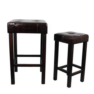 Comfortable (Set of 2) Wood Leather Bar Stool