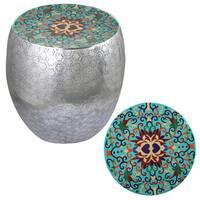 Teal Damask Art Metal Stool By Entrada
