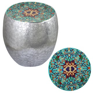 Teal Damask Art Metal Stool By Entrada