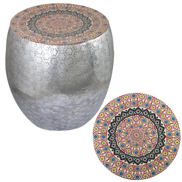 Shop Quirky Style Kaleidoscope Art Metal Stool By Entrada Free Shipping Today