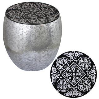 Eccentric Black Damask Art Metal Stool By Entrada