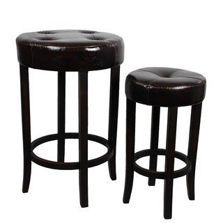 Soft And Sturdy Wood Round Leather Stool Set By Entrada