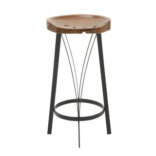 "Worth Metal Teak Wood Barstool 16""W 30""H"