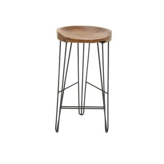 "Value Metal Teak Wood Barstool 16""W 30""H"